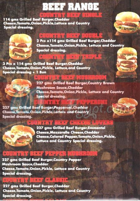 Country Burger menu