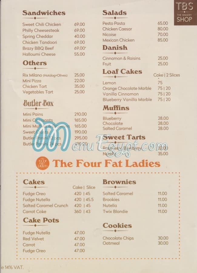 TBS-The Bakery Shop menu