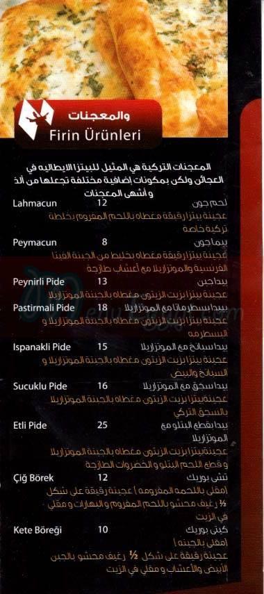 Anadol Express menu