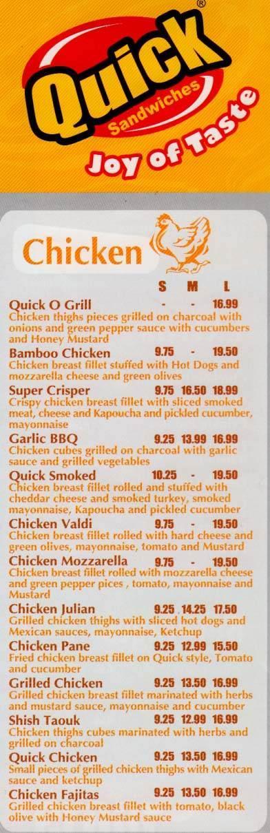 Quick  Sandwiches menu